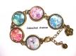 B3.439 bijou femme geisha fleurs sakura bracelet bijou fantaisie bronze 5 cabochons verre bleu turquoise femme d'asie chine japon japonaise (série 1)
