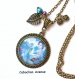 B3.440 bijou femme geisha fleurs sakura collier pendentif bijou fantaisie bronze cabochon verre bleu turquoise femme d'asie chine japon japonaise (série 1)