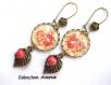 B3.446 bijou femme bouquet de roses romantique boucles pendants bijou fantaisie bronze cabochon verre fleurs roses shabby chic rétro vintage