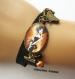 B3.463 bijou femme parisienne bracelet biais tissu bijou fantaisie bronze cabochon verre femme élégante fashion victim mode haute couture (série 1)