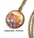 B3.1219 bijou femme bijou femme grafiti tag collier pendentif bijou fantaisie bronze cabochon verre grafiti graffiti grafitti tag multicolore love orange