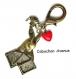 B3.1320 bijou femme lapin alice bijou de sac bijou fantaisie bronze cabochon verre le lapin d'alice au pays des merveilles - alice in wonderland