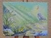 Tableau peinture :  le héron et la grenouille