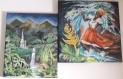 Tableaux peinture, diptyque : Île de la guadeloupe - ambiance créole