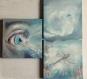 Tableau triptyque peint : regard sublimé par la libellule bleue