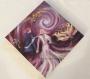 Toile peinte : mariage - un couple uni avance serein (sur fonds violet)