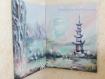 Diptyque peint - paysage zen - cascade, torrent, lac, montagne, bouddha et pagode
