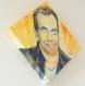 Porte-bijoux au dos de toile peinte : portrait de garou, chanteur québécois (présentation tableau forme losange)
