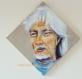 Portrait de hugues aufray - tableau peint sur toile de lin