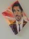 Toile peinte : portrait de patrick fiori,  chanteur, auteur et compositeur français (présentation tableau forme losange)