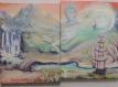Diptyque peint - paysage zen - cascade, torrent, ponts, montagnes, bouddha et pagode