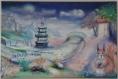 Peinture à l'huile : l'écureuil à la cascade, près d'une pagode - un guide vers des passages ...un pont, une porte, des chemins s'élèvent vers des montagnes, ..........