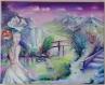 Toile peinte : femme au lys blanc et à la pensée qui ouvre l'oeil vers un paysage de rêve, d'une autre dimension, ...