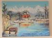 Toile peinte - lac de savoie - le lac st andré - par une journée d'hiver ensoleillée
