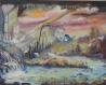 Toile peinte : le cours d'eau ou le cours de la vie, a l'aube d'un nouveau jour