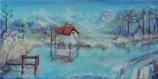 Toile peinte - lac de savoie - le lac st andré - par une journée d'hiver ensoleillée (grand format)