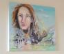 Toile peinte :  la femme en pleurs, tourmentée ou harcelée, ...