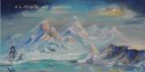 Toile peinte - lac d'altitude au milieu des sommets enneigés