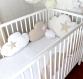 Tour de lit bébé 60cm large, nuages,  5 coussins, beige, écru et blanc