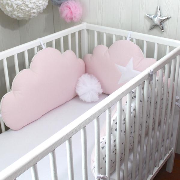 Tour de lit bébé, 60cm large, 3 coussins nuages, ton rose ...