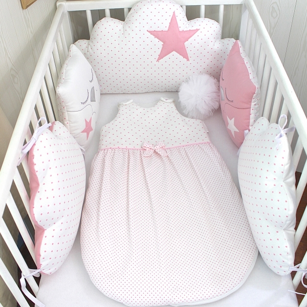 Tour de lit bébé 60cm large, réversible, nuages et hiboux, rose et