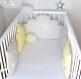 Tour de lit bébé 60cm large, réversible, nuages et hiboux, beige et jaune