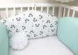 Tour de lit bébé en 60cm large, 3 panneaux réversibles de 60cm de large, couleur vert d'eau, blanc et noir, thème panda