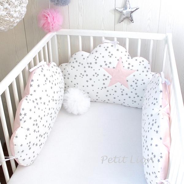 Tour de lit bébé, 70cm large, 3 coussins nuages, ton rose pale et ...