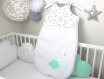 Gigoteuse bébé en blanc à étoiles grises et vert menthe, taille 1 à 8 mois,