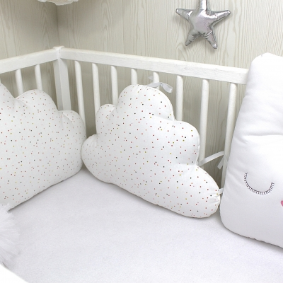 Tour de lit bébé en 60cm large, 5 coussins: lapin blanc, étoile et nuage