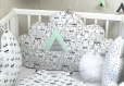 Tour de lit 5 coussins nuages, pour lit de 60cm large, thème cactus et tipi indien, vert d'eau clair, blanc et gris, réalisé à la commande