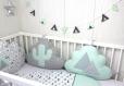 Tour de lit 5 coussins nuages, pour lit de 70cm large, thème cactus et tipi indien, vert d'eau clair, blanc et gris, réalisé à la commande
