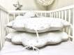 Tour de lit bébé, 70cm large, 3 coussins nuages, beige et blanc à étoiles beiges