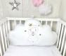 1 coussin nuage 70 cm large brodé avec une princesse pour décoration chambre enfant, blanc uni, or et rose