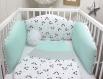 Tour de lit bébé en 70m large, 3 panneaux réversibles de 70cm de large, couleur vert d'eau, blanc et noir, thème panda