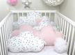 Tour de lit bébé 60cm large, nuages,  5 coussins, rose pâle et blanc à étoiles grises