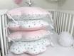 Tour de lit bébé 70cm large, nuages,  5 coussins, rose pâle, blanc étoiles grises