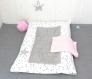 Housse de matelas à langer + serviettes de change, tissu coton étoiles, grise et rose