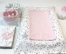 Duo de panières en tissu matelassé, rose et étoiles grises