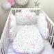 Gigoteuse bébé en blanc à étoiles grises et rose tendre, taille 1 à 8 mois, avec prénom brodé