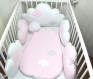 5 coussins pour tour de lit 70cm large ou autre dans la chambre de bébé, nuages, rose et blanc