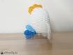 Chicken poulet  amigurumi crochet ecru bleu