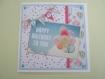 Carte 3d happy birthday to you blanc bleu