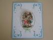 Carte 3d 2 petits anges et fleurs bleu blanc vert