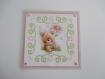 Carte de voeux 3d et broderie ourson et fleurs