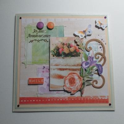 Carte 3d fleurs et papillons joyeux anniversaire