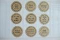 Personnalisation de 28 étiquettes / stickers  (adhésif kraft)