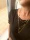 Sautoir chaine bille et son pendentif doré et turquoise