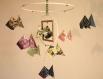 Mobile bebe bois suspension chambre enfant bébé en origami animaux poisson