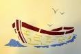 Cadre tableau en papier découpé décoration intérieure murale  paysage bateau bleu beige cadeau